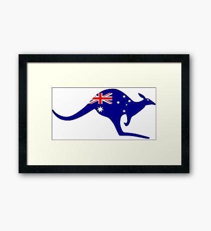 Australia Kangaroo - Flag Design Framed Print