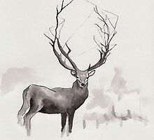 Art Illustration - Deer in the fog by Marikohandemade