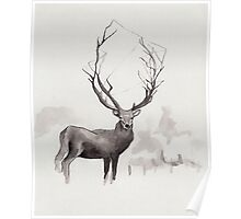 Art Illustration - Deer in the fog Poster