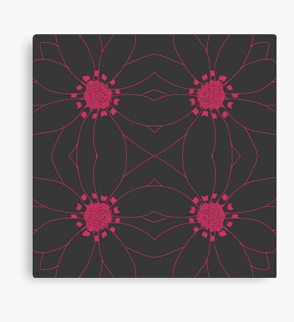Hot Pink Floral Pattern Canvas Print