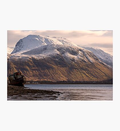 Ben Nevis and the Old Boat Photographic Print