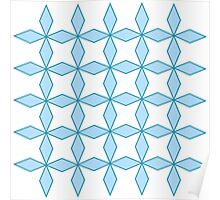 interlaced, trellis,floral,pattern,green,white,pale blue, modern,trendy Poster