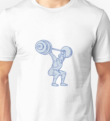 Weightlifter Lifting Barbell Mono Line Unisex T-Shirt