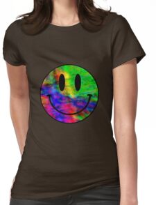 Smiley Face Trippy Womens Fitted T-Shirt