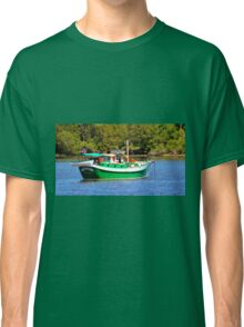 White And Green Boat Classic T-Shirt