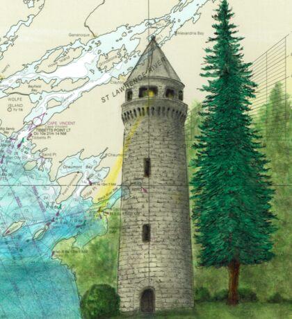 Sackets Harbor Lighthouse NY Cathy Peek Nautical Chart Map Sticker
