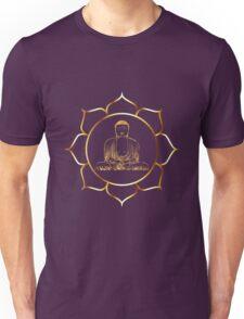 Gold buddha in lotus meditation illustration Unisex T-Shirt
