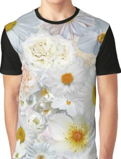 White Flowers Field Summer Bouquet Floral Wedding Bridal  Graphic T-Shirt