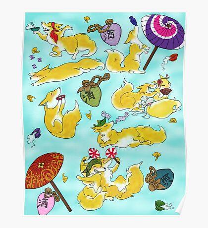 Sake Foxes Poster