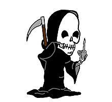 Grim Reaper Giving the Finger Photographic Print
