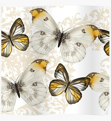 Yellow and black butterflies Poster