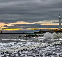 Seaburn and Roker Lighthouses by Avril Harris
