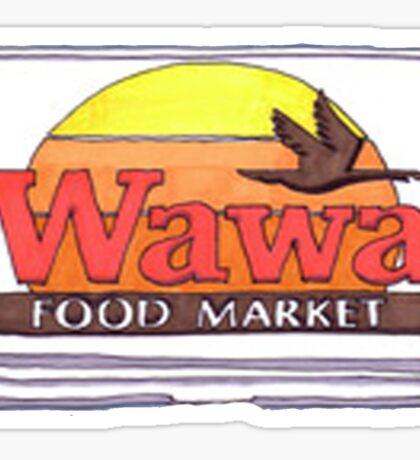 Old School Wawa Sign Drawing Sticker