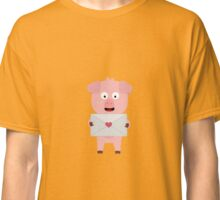 Cute Pig with Loveletter Classic T-Shirt