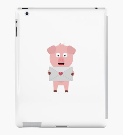 Cute Pig with Loveletter iPad Case/Skin