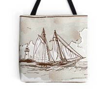 Vintage View of Sailing Ships on the Sea Tote Bag