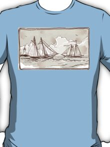 Vintage View of Sailing Ships on the Sea T-Shirt