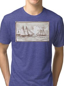 Vintage View of Sailing Ships on the Sea Tri-blend T-Shirt
