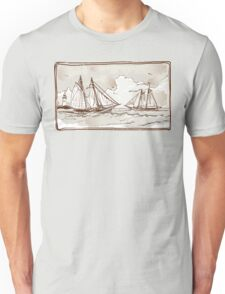 Vintage View of Sailing Ships on the Sea Unisex T-Shirt