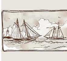 Vintage View of Sailing Ships on the Sea by aurielaki