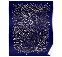 Gold Berry Branches on Navy Poster