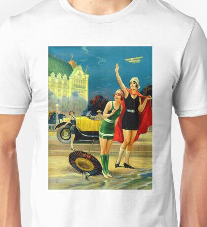 FLAPPER; Vintage Bathing Beauty Print Unisex T-Shirt