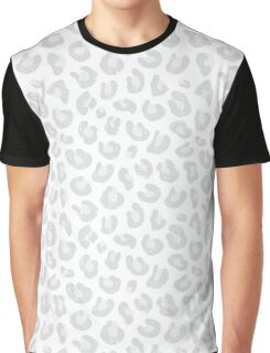 Silver Gray and White Leopard Print Graphic T-Shirt