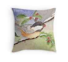 Chickadee in the Snow Throw Pillow