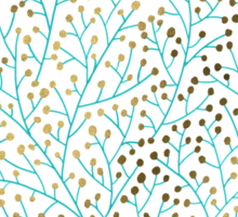 Turquoise & Gold Berry Branches Sticker