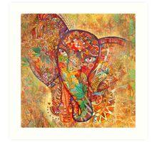 Red rune elephant Art Print