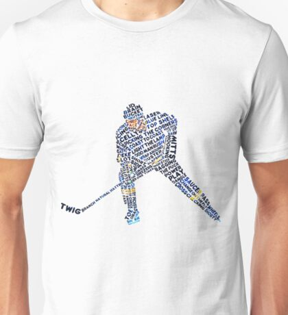 Hockey Player Typography Funny Hockey Shirt Unisex T-Shirt