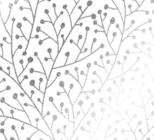 Silver Berry Branches on Periwinkle Sticker