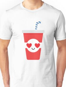 Soft Drink Cup Emoji Heart and Love Eye Unisex T-Shirt