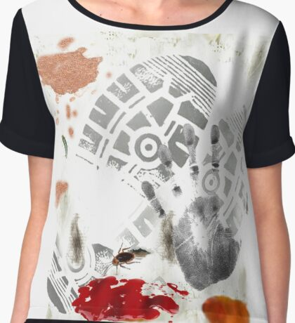 DIRTY Ketchup Footprint Coffee Stained roach Gag Print Chiffon Top