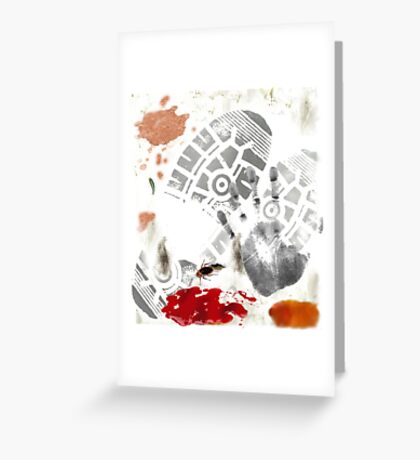 DIRTY Ketchup Footprint Coffee Stained roach Gag Print Greeting Card