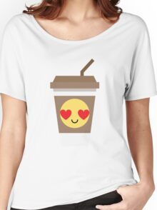 Coffee Cup Emoji Heart and Love Eye Women's Relaxed Fit T-Shirt