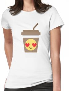 Coffee Cup Emoji Heart and Love Eye Womens Fitted T-Shirt