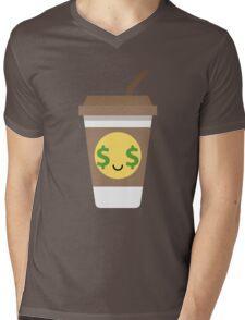 Coffee Cup Emoji Money Face Mens V-Neck T-Shirt