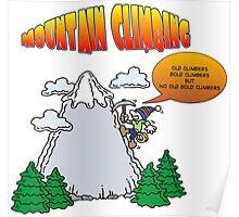 Funny Rock Climbing Cartoon Poster