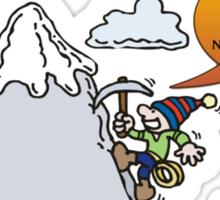 Funny Rock Climbing Cartoon Sticker
