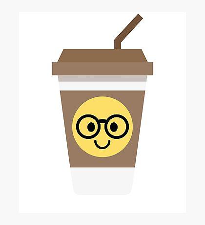 Coffee Cup Emoji Nerd Noob Glasses Photographic Print