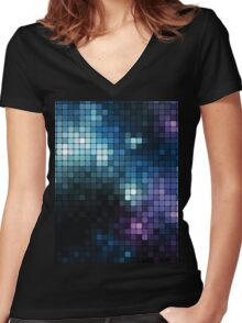 square galaxy Women's Fitted V-Neck T-Shirt