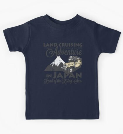 Landcruising Adventure in Japan - Curly font edition Kids Tee