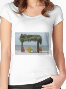 chairs on a beach Women's Fitted Scoop T-Shirt