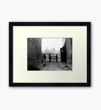 WWII --- U.S. soldiers in Argentan, France Framed Print