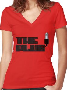 Are you the AuxKeeper?/The Plug - Pixels Women's Fitted V-Neck T-Shirt