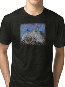 Rock Climbing Cathedral Peak Abstract Tri-blend T-Shirt