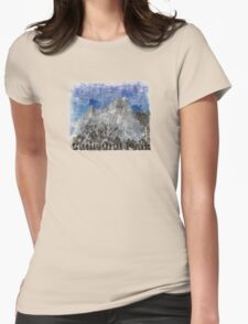 Rock Climbing Cathedral Peak Abstract Womens Fitted T-Shirt