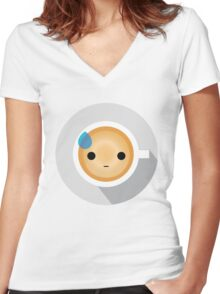 Gourmet Coffee Emoji Speechless with Sweat Women's Fitted V-Neck T-Shirt