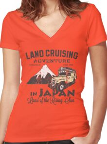 Landcruising Adventure in Japan - Straight font edition Women's Fitted V-Neck T-Shirt